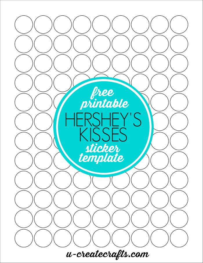 Free Printable Hershey's Kisses Sticker Template by U Create