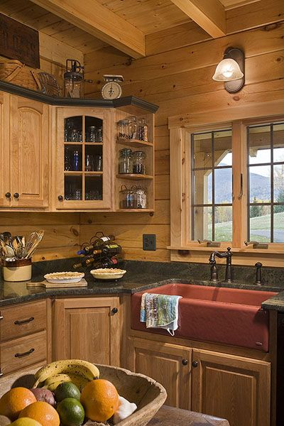 coventry log homes about us picture gallery want to try the horizontal boards - Log Cabin Kitchen Ideas