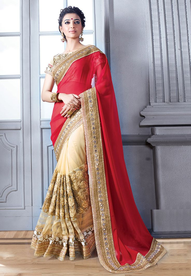 Red and Beige Viscose Georgette and Net Saree with Blouse: SYG376