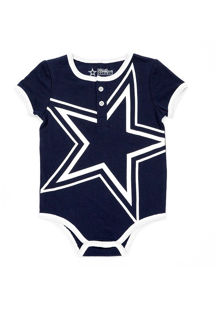 1d6673e07c1 Dallas Cowboys Baby Navy Blue Eddie Short Sleeve One Piece ...