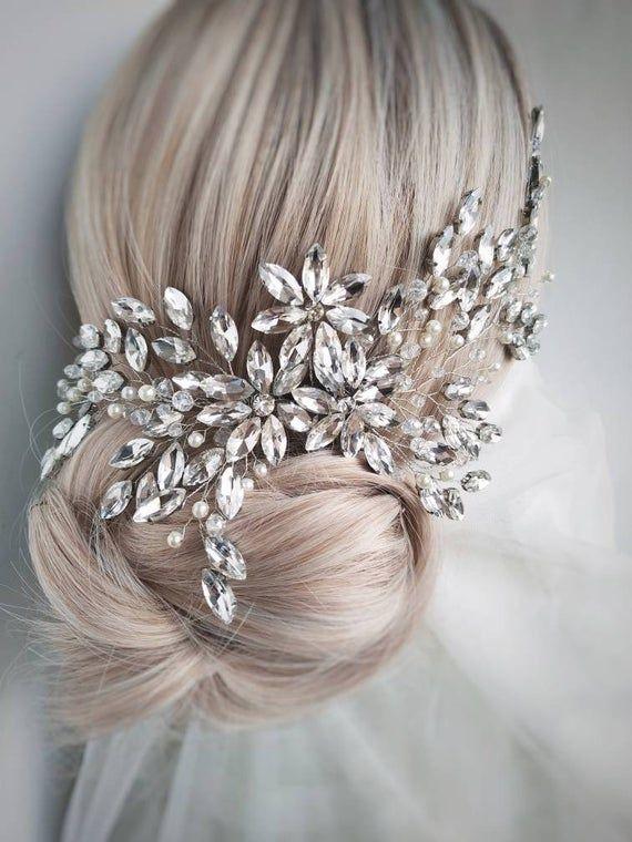 bridal hair accessories head band foe wedding silver crystal comb Pearl crystal hair vine comb hair comb for bride wedding hair pieces