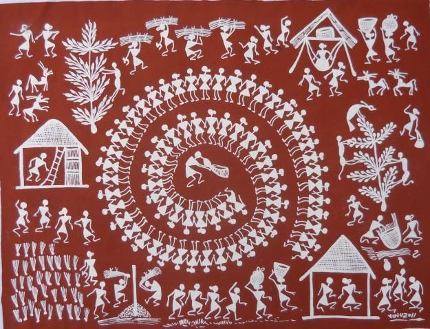 Warli is an Indian tribal design style from time unknown. Warli uses basic geometrical shapes to create stories from the villager's day to day life. Warli designs make use of mostly circles, triangles and lines to create human, animal, flora and fauna forms. Each warli painting depicts a story. Villagers decorate their homes and mud walls with warli paintings. Warli paint uses the red or black mud wall as a background or canvas. And the paint is made from rice flour mixed with water.