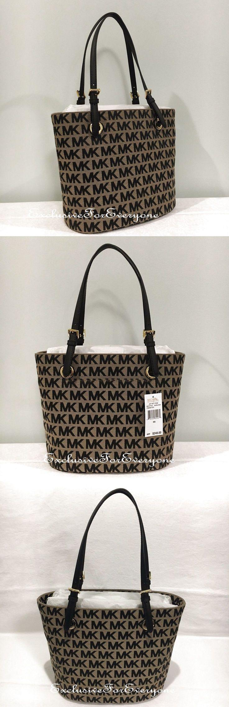 NWT Michael Kors Jet Set Medium Tote Bag Purse Signature MK Beige Black $248 $119.99