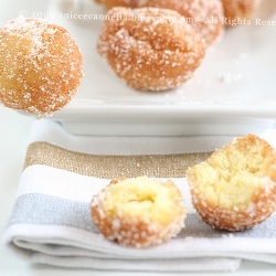 Castagnole the Italian chef Nazareno Lavini. A mixture of eggs, flour, butter, sugar and ricotta cheese, then fried and sprinkled with sugar