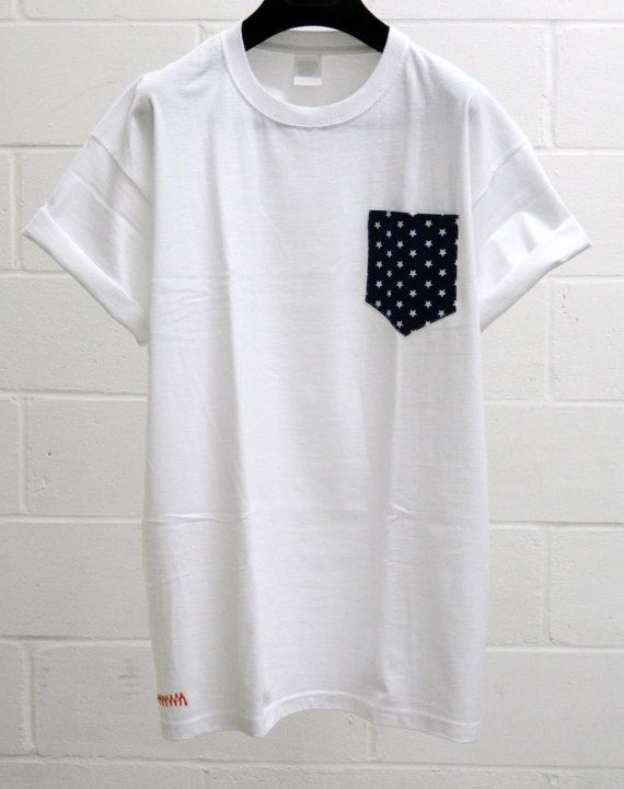Men's Stars Pattern White Pocket TShirt Men's T by HeartLabelTees, £9.95