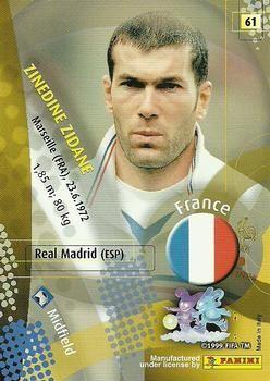 2002 Panini World Cup #61 Zinedine Zidane Back