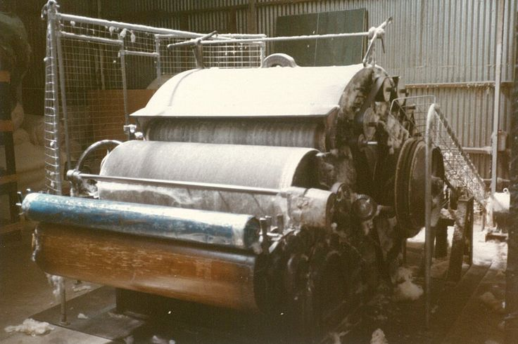 The first Wool Carding Machine that MiniJumbuk installed in the Naracoorte Factory. #History #Wool #Carding #MiniJumbuk #Naracoorte #LOVEWOOL #40Years
