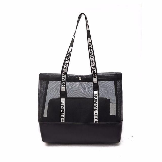 Summer Gauze Bag Beach Bag Transparent Bags Handbags Women Shoulder Bags Large Capacity Composite Bag Color Black