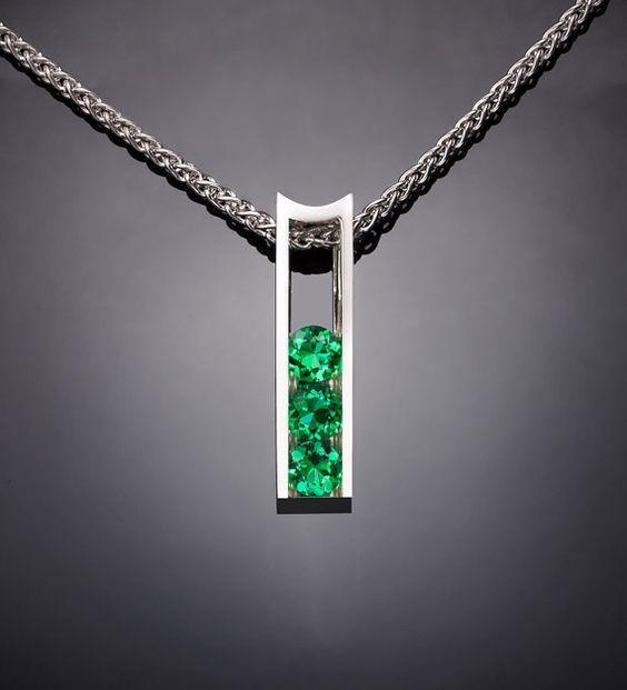 Argentium silver and emerald pendant designed by David Worcester for VerbenaPlaceJewel…