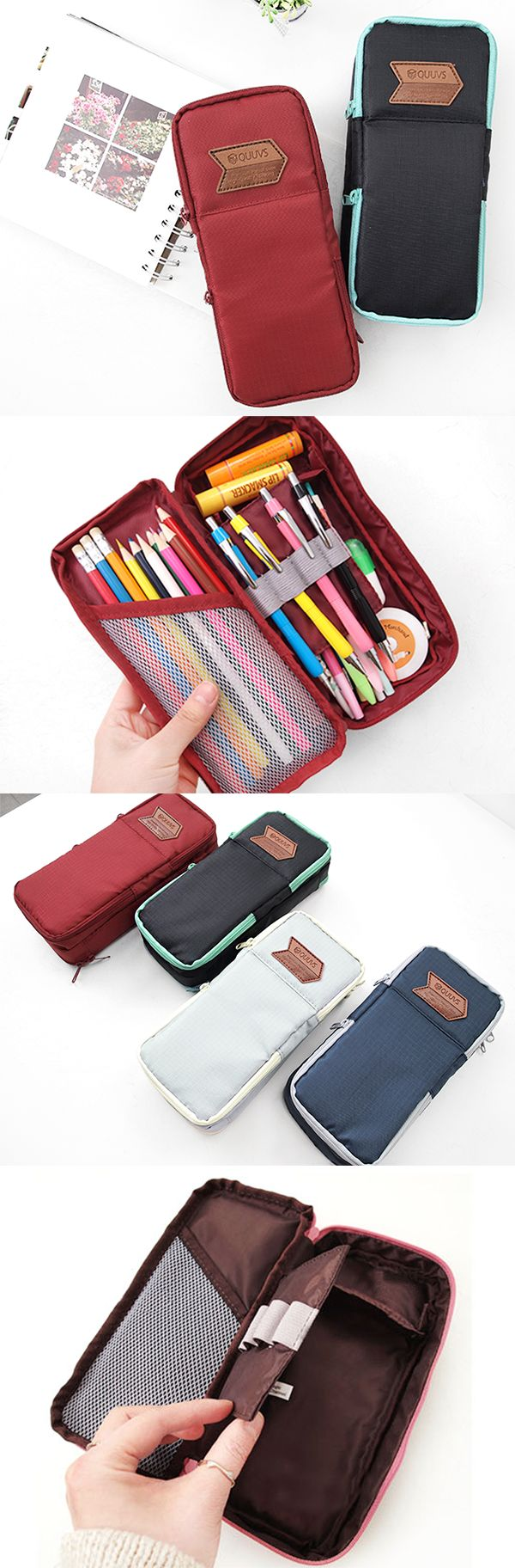 Tired of losing your pencils? Meet the QUUVS Pencil Pouch! This modern pouch has 2 sections for optimal organization. The top part has 2 zippered pockets, 1 for small items like your USB drive or earbuds & the other for your cash, cards, & memos. The bottom part has a mesh pocket to hold your colored pencils & a divider with a band to showcase your favorite pens & pencils. Under that, there are 2 sections with plenty room to organize other supplies such as erasers, tape, & more! Check it…
