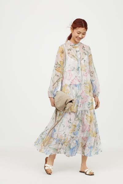 Floral Chiffon Patterned Clothes 2019 Dress Dress In 8Y8waqUxB