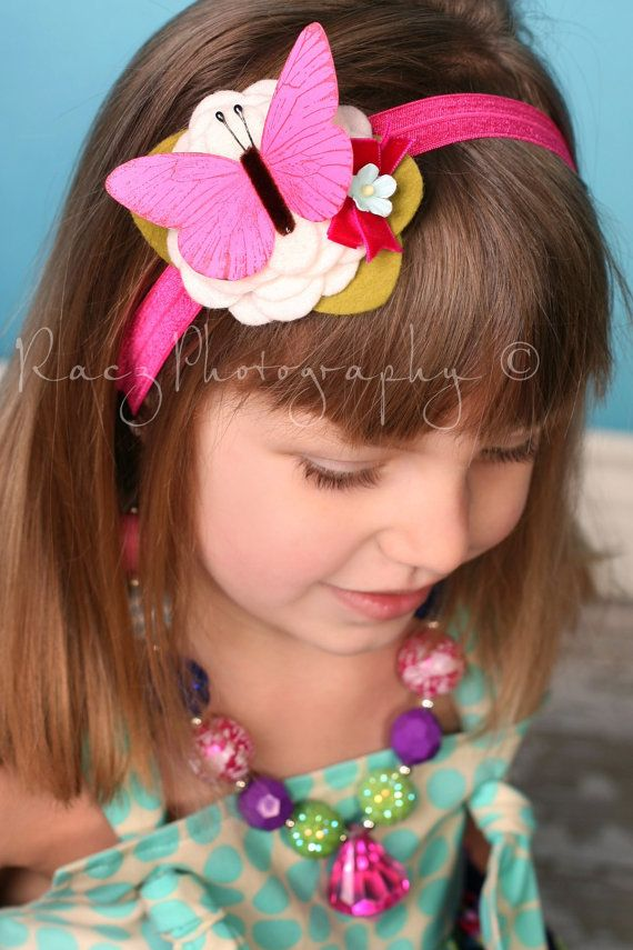 Felt Flower Headband  Butterfly Headband by giddyupandgrow on Etsy, $19.00