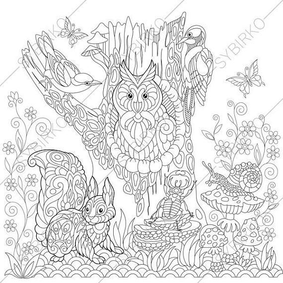 Adult Coloring Pages. Forest Animals. Zentangle Doodle