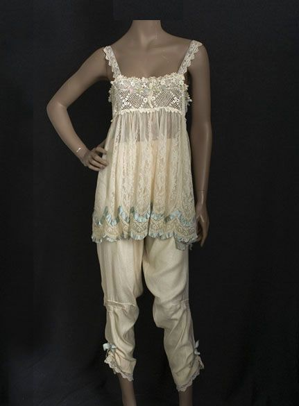 French lace and silk lingerie ensemble, c.1912, from the Vintage Textile archives.: