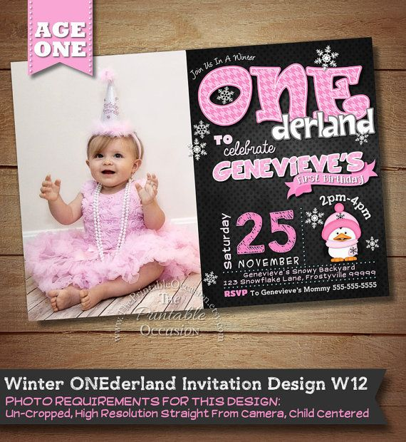 Girls Winter ONEderland Invitation, Winter Onederland Birthday Invitation, First Birthday, 1st Birthday, Chalkboard Photo Invitation