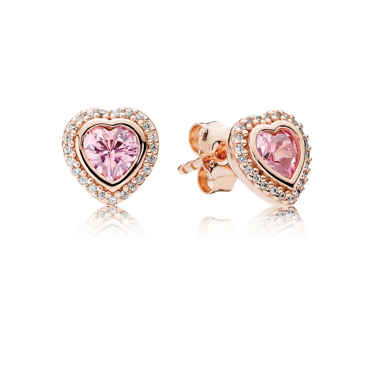 PANDORA Rose Earring Studs Sparkling Love with Pink & Clear Cubic Zirconia