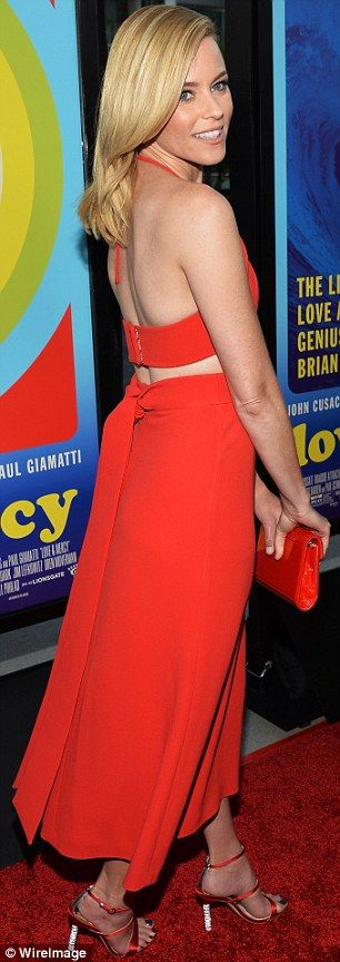Elizabeth Banks is ravishing in red as she rocks a halter number with sheer panel at LA premiere of Love & Mercy   Daily Mail Online
