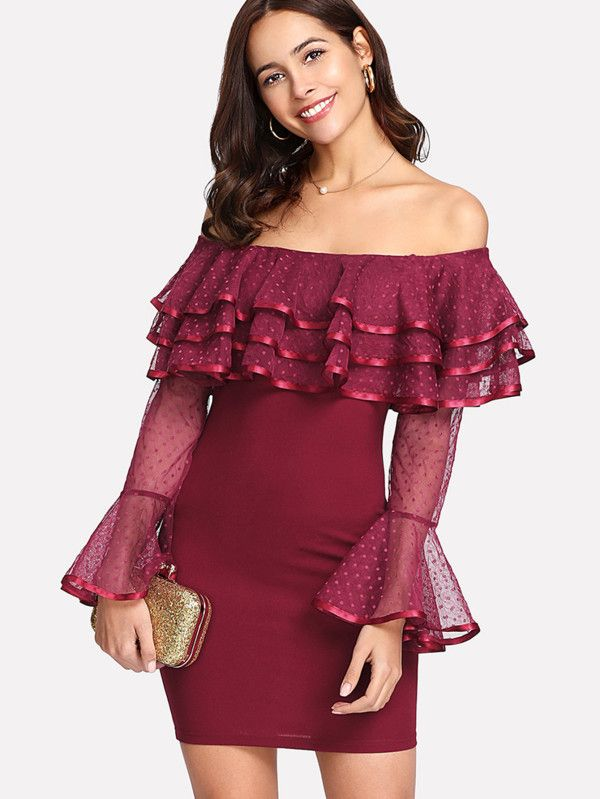 07fd2f52e2 Shop Dot Mesh Flounce Bardot Dress online. SheIn offers Dot Mesh Flounce  Bardot Dress   more to fit your fashionable needs.