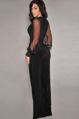 Black Chic Ladies Wide-leg V Neck Long Sleeve See Sheer Jumpsuit