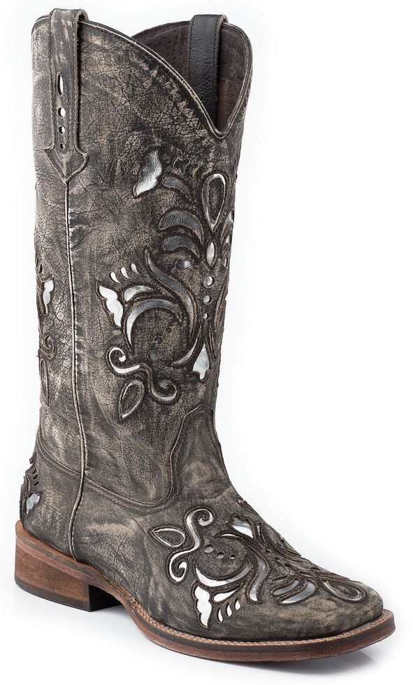 3630baf83a9 Roper Fancy Silver Inlay Cowgirl Boots - Square Toe in 2019 | BooTs ...