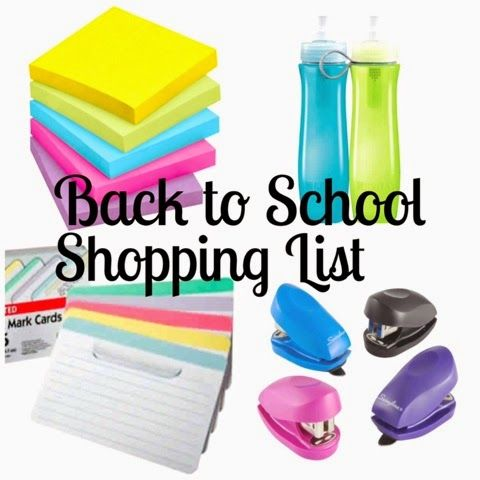 Back to School Shopping List