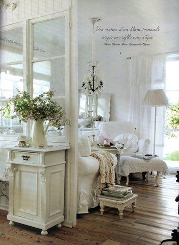 Window Living Room Whitewashed Cottage chippy shabby chic french country rustic swedish decor idea