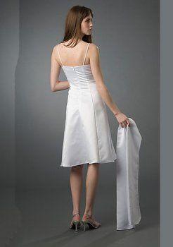 glamour A-ligne de longueur genou bretelles en satin organza robes de soirée courtes
