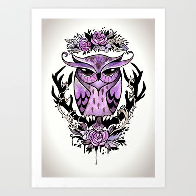 Hand-painted owl tattoo Art Print by The Fanatic Calligrapher - $17.00 Available at Society6: http://society6.com/TheFanaticCalligrapher/Hand-painted-owl-tattoo_Print#1=45
