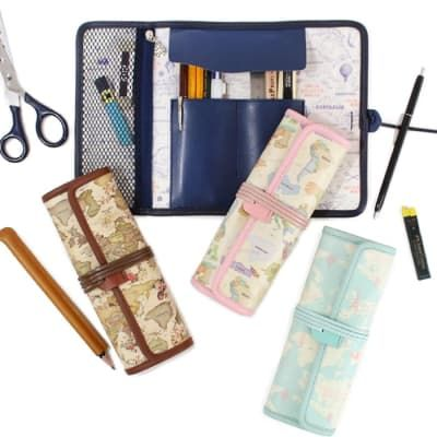World Map Roll Pen Case