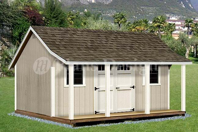 Shed with Porch 12' x 16' Cape Shed Plans , #P81216, Free Material List