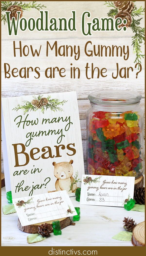 How Many Gummy Bears Woodland Baby Shower Game – Standing Sign and 30 Cards