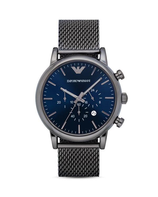 Emporio Armani Chronograph Mesh Bracelet Watch, 46mm