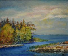 Raija Merila Painting - Seascape From Hamina 3 by Raija Merila