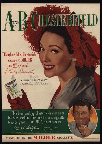1949 LINDA DARNELL - Actress -  Woman's Hat - CHESTERFIELD Cigarettes VINTAGE AD