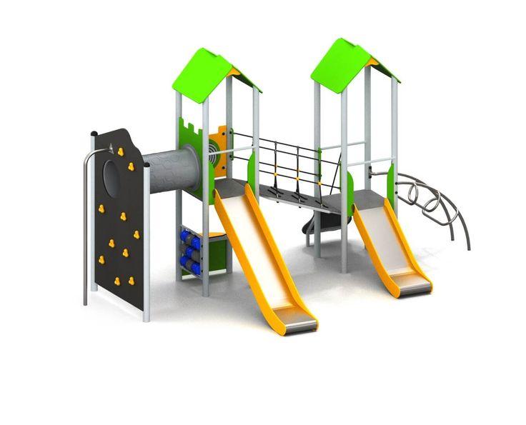 Metalen speeltoestel bestellen? Combinatietoestel met twee glijbanen en uitdagende klimwand. Offerteaanvragen binnen 5 werkdagen.