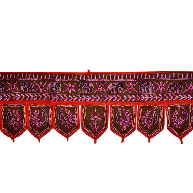 Home decorative Toran Door hanging With Peacock and Elephant Design Product Code :Peacock Door Hangings67 Size: 10 X 36 Inches * Color: Brown * Fabric: Cotton Here we Present a beautiful Door hanging with very creative Embroidery work. Fine quality cotton fabric make this Door Hanging attractive and well-favored. You can see the graceful Embroidery work in This Picture......