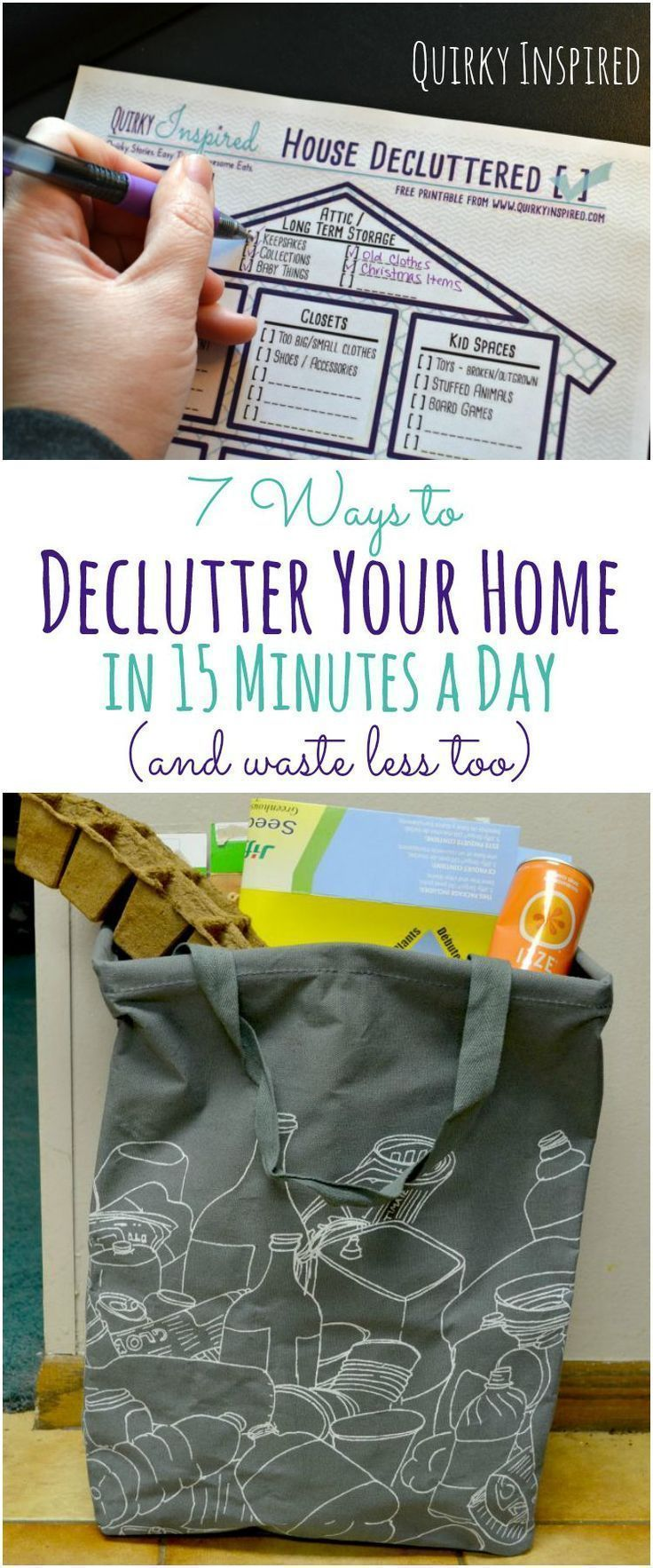 Tired of all the clutter in your house? 7 Ways to Declutter your home in 15 minutes a day with free printable. PLUS reduce your waste challenge! #Ad #declutterhelp #clutterclearing
