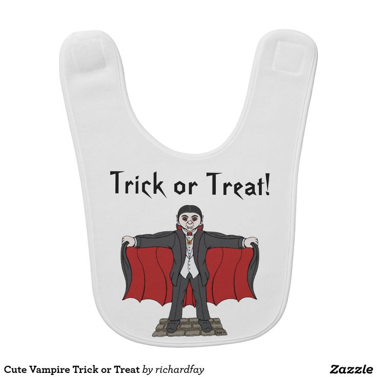 Cute Vampire Trick or Treat Bib.  #zazzle #baby_bib #bib #cute_vampire #cartoon_vampire #vampire #cute_Dracula #cartoon_Dracula #Dracula #trick_or_treat