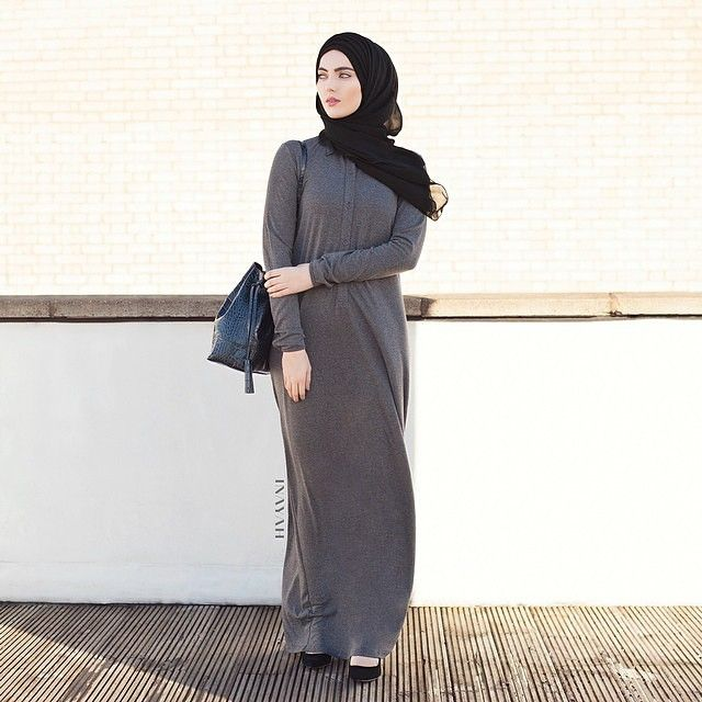 INAYAH | Charcoal Everyday Shirt Abaya | Black Georgette Hijab | www.inayahcollection.com