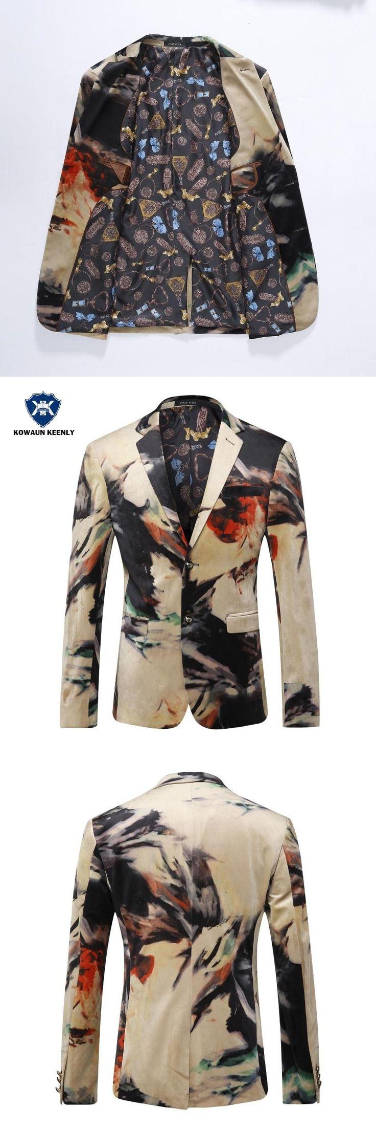 Men Blazer 2017 Luxury Designer Colorful Mens Blazer Jacket Italian Stylish Fancy Velvet Suit Jacket Casual Prom Blazers