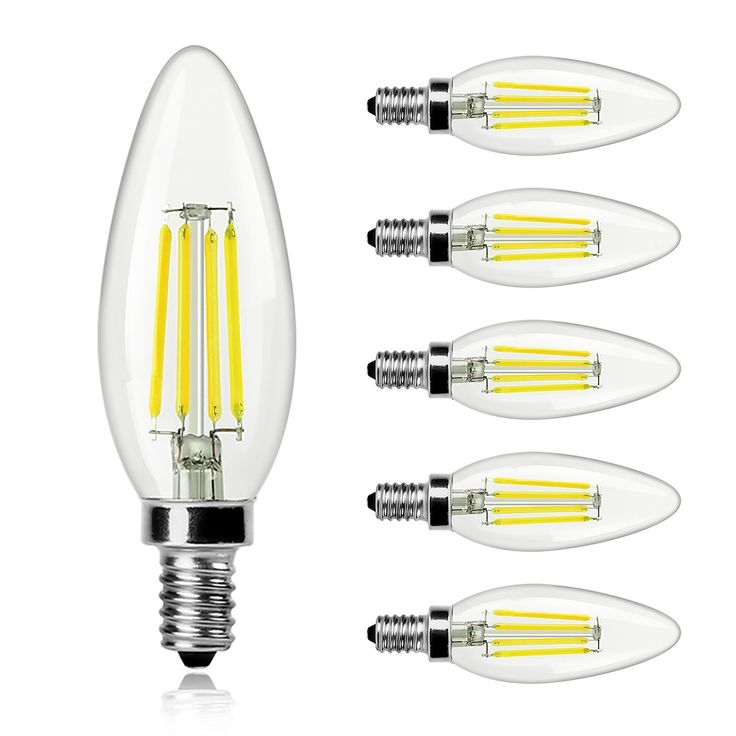 WINSEE Candelabra LED Filament Bulbs 40W Equivalent, E12 Base B11 Led Light Bulbs, 4000K Decorative Candle Light Bulb, ETL Listed,2 Years Warranty, Pack of 6