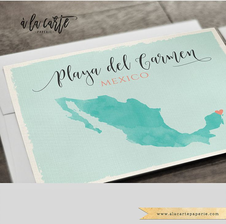 Beach Mexico Destination Wedding Invitation Set Playa