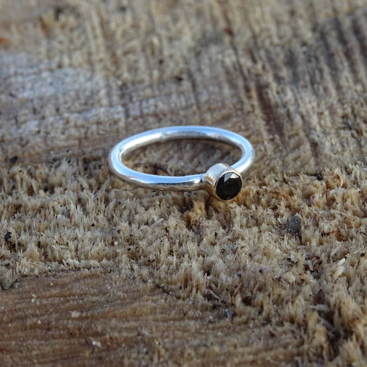Sterling Silver Ring with Black Onyx Gemstone and gold by RingRosa on Etsy