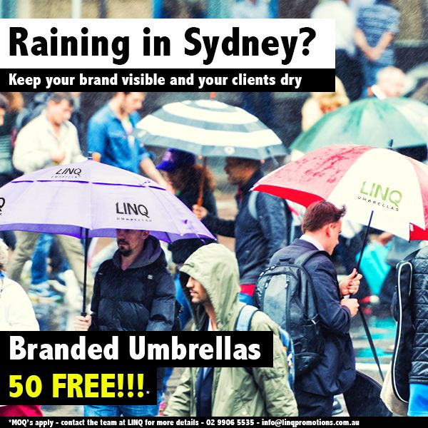 Branded Umbrellas - 50 Umbrellas FREE with every first order. MOQ's apply. Contact the team at LINQ today - info@linqpromotions.com.au