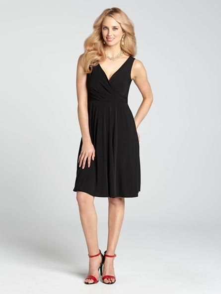 "Laura Petites: for women 5' 4"" and under. Start your cocktail event or evening occasion off in fine form by sporting a simple yet elegant LBD! A flattering v-neck front is an ultra feminine and flattering neckline, perfect for adding in the... 4010101-046"
