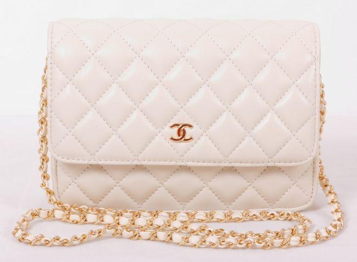 Сумка Chanel mini WOC кремовая с золотой фурнитурой
