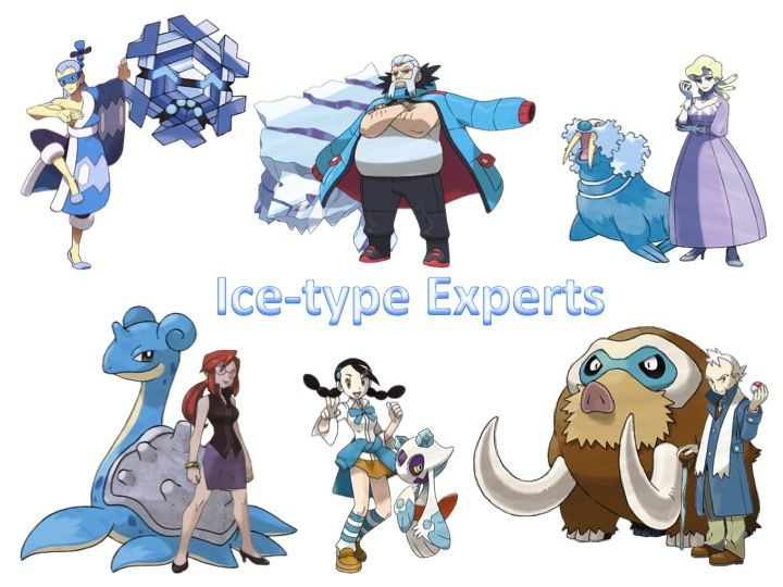 Brycen, Wulfric, Glacia, Lorelei, Candice, and Pryce along with their signature Pokemon.