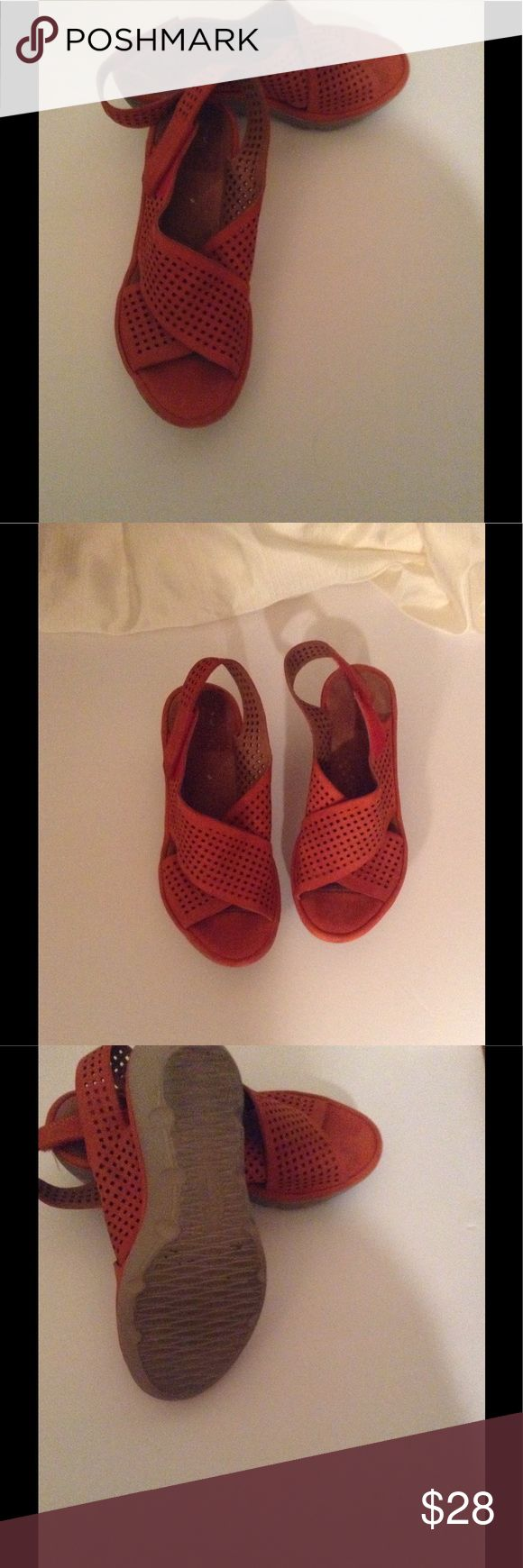 """Clarks orange suede-leather sandal sz. 5 Clarks sz. 5 M wedges , hook and loop fasteners height 1.5"""" like new condition. Clarks Shoes Wedges"""