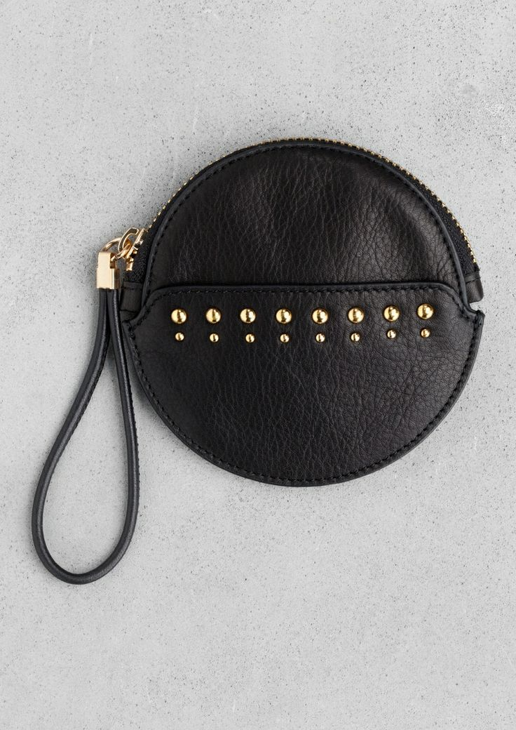 studded leather coin purse via & other stories