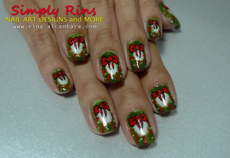Christmas nail art: Christmas Wreaths, Art Wreaths, Christmas Nails Art, Christmas Nails Design, Wreaths Nails, Christmas Nail Art, Nails Art Design, Art Pictures, Holidays Nails